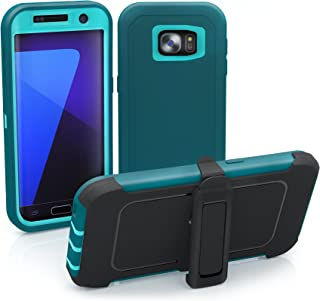 Galaxy S7 Edge Case, ToughBox [Armor Series] [Shock Proof] [Teal] for Samsung Galaxy S7 Edge Case [Built in Screen Protector] [with Holster & Belt Clip] [Fits OtterBox Defender Series Belt Clip]