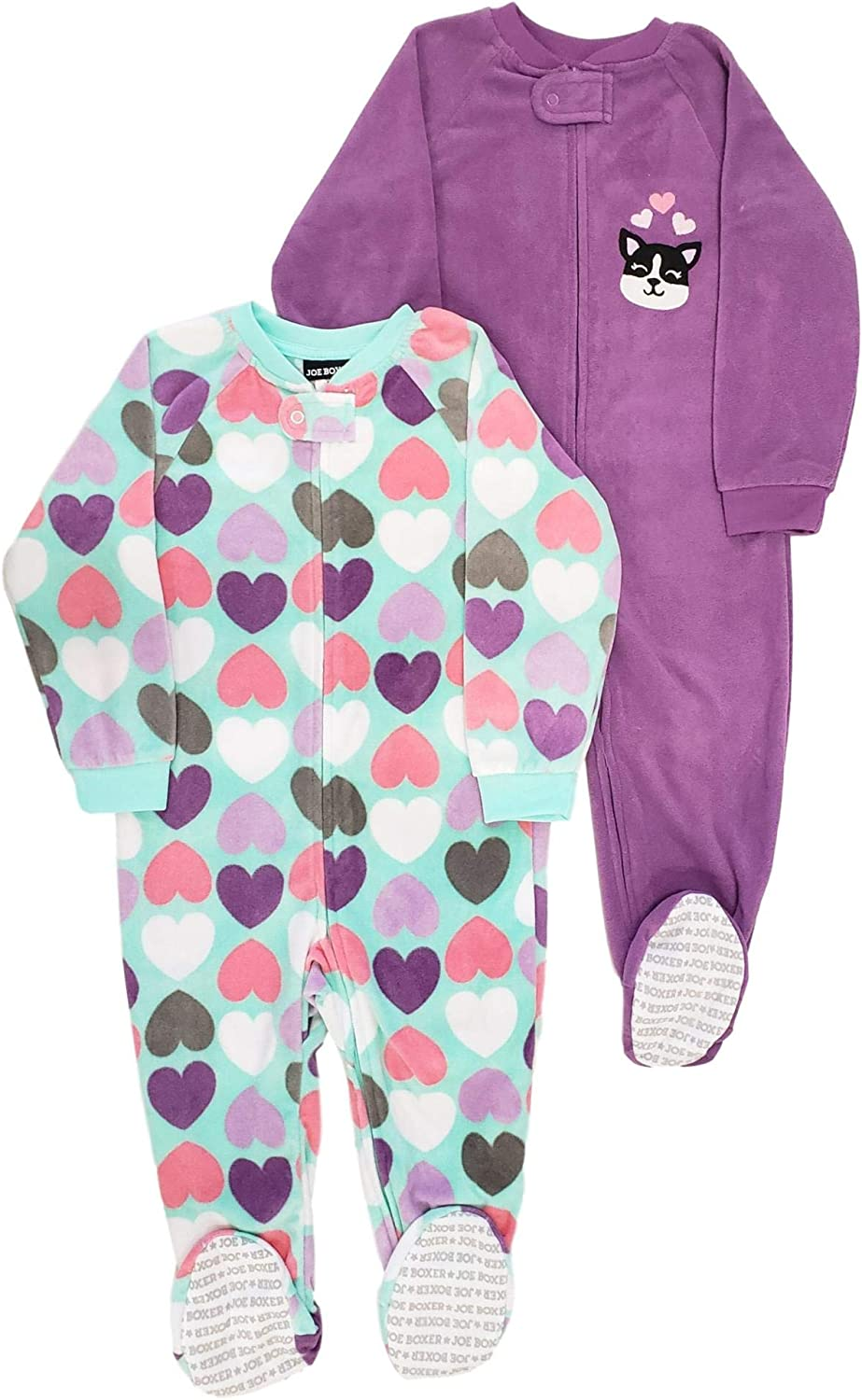 Joe Boxer Infant Toddler Girl Heart shipfree Footie Print Fleece Pa Complete Free Shipping 2Pack