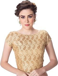 Neckbook Womens Brocade Desginer Cream Padded Full Zipper Long Saree Blouse
