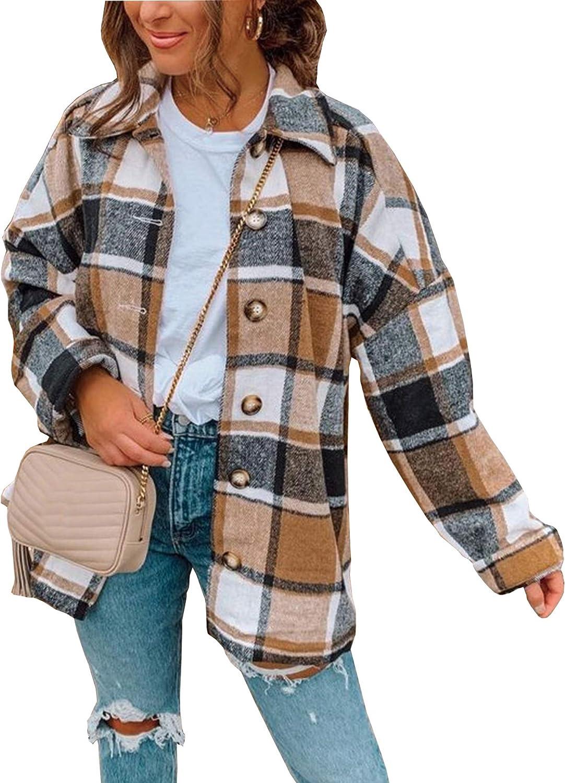 Hixiaohe Women's Casual Wool Blend Plaid Shirt Jacket Loose Button Down Shacket Coat