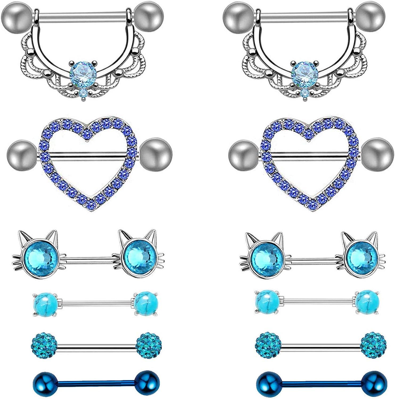 SENNI 12PCS Stainless Steel Tongue Ring Nipple Shield Barbell Ring Bar Nipplerings Body Piercing Jewelry for Women Men