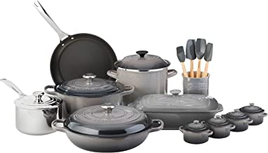 Le Creuset of America MS1920-7F 20 Piece Mixed Material Oyster Cookware Set, 20Pc
