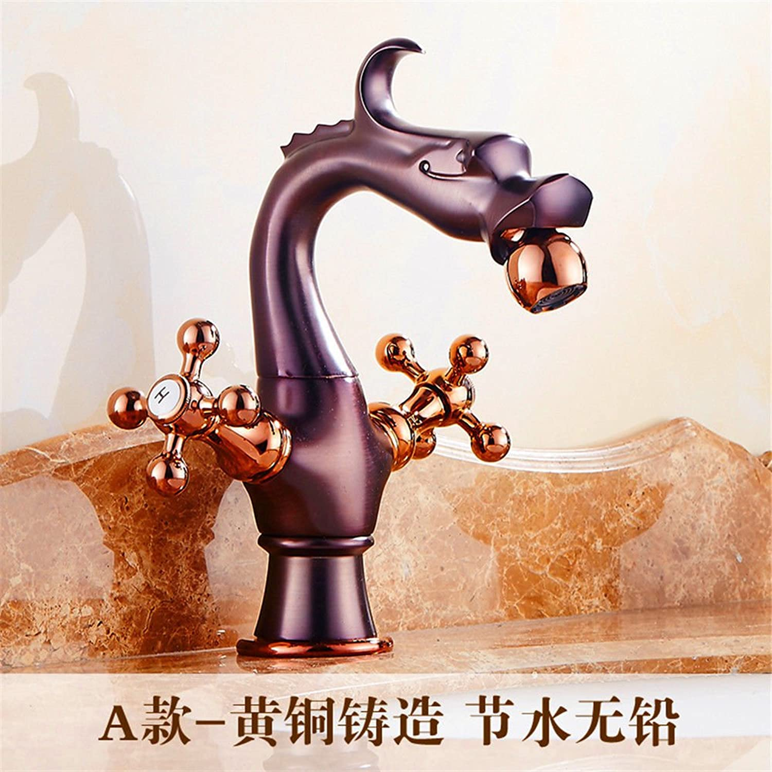 Lpophy Bathroom Sink Mixer Taps Faucet Bath Waterfall Cold and Hot Water Tap for Washroom Bathroom and Kitchen Hot and Cold Single Hole pink gold Copper Retro A