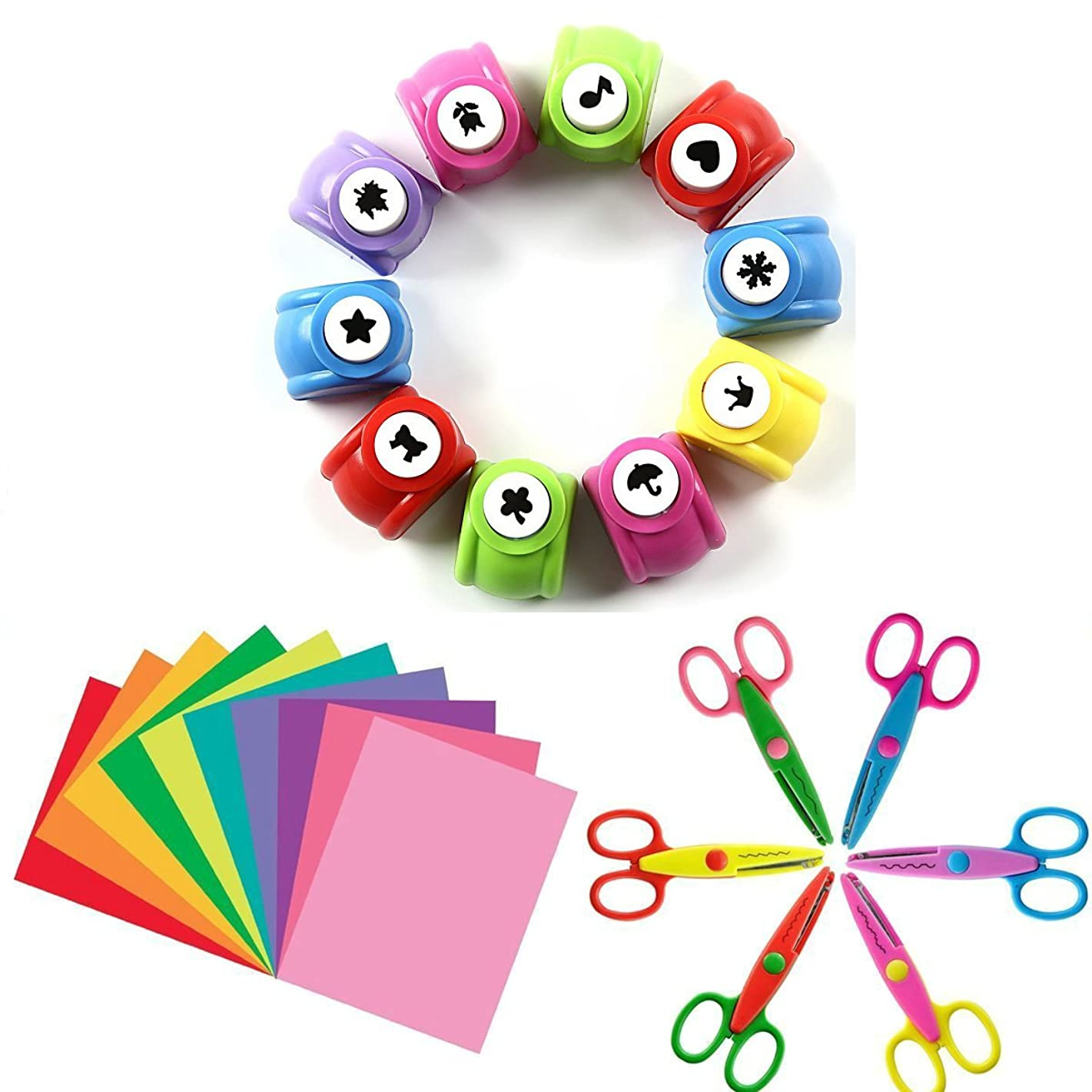 Since 10 PCS Craft Punch + 6 PCS Creative Scissors + 50 PCS Colorful Self Adhesive Paper for Card Scrapbooking Engraving Kid Cut DIY Handmade