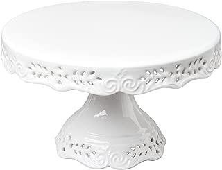 Gracie China 10-Inch Diameter x 6-Inch High Victorian Rose Fine Porcelain Round Pedestal Cake Stand Off White