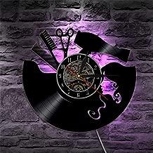 Peluquería salón de belleza iluminación decorativa moderna disco de vinilo reloj de pared regalo de peluquería con iluminación LED