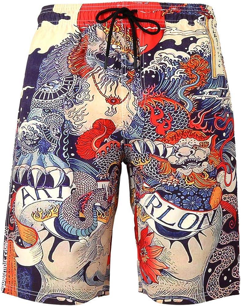 Kalanman Men's Summer Hawaiian Style Printed Beach Board Shorts with Pockets