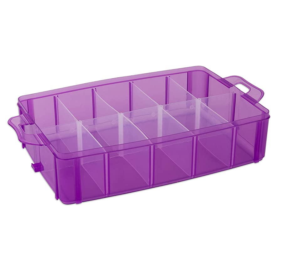 LifeSmart USA Stackable Storage Container Purple - 50 Adjustable Compartments -Store Lego Dimensions - LOL Dolls - Littlest Pet Shop - Arts and Crafts - and More! (Purple, 1 Tier)