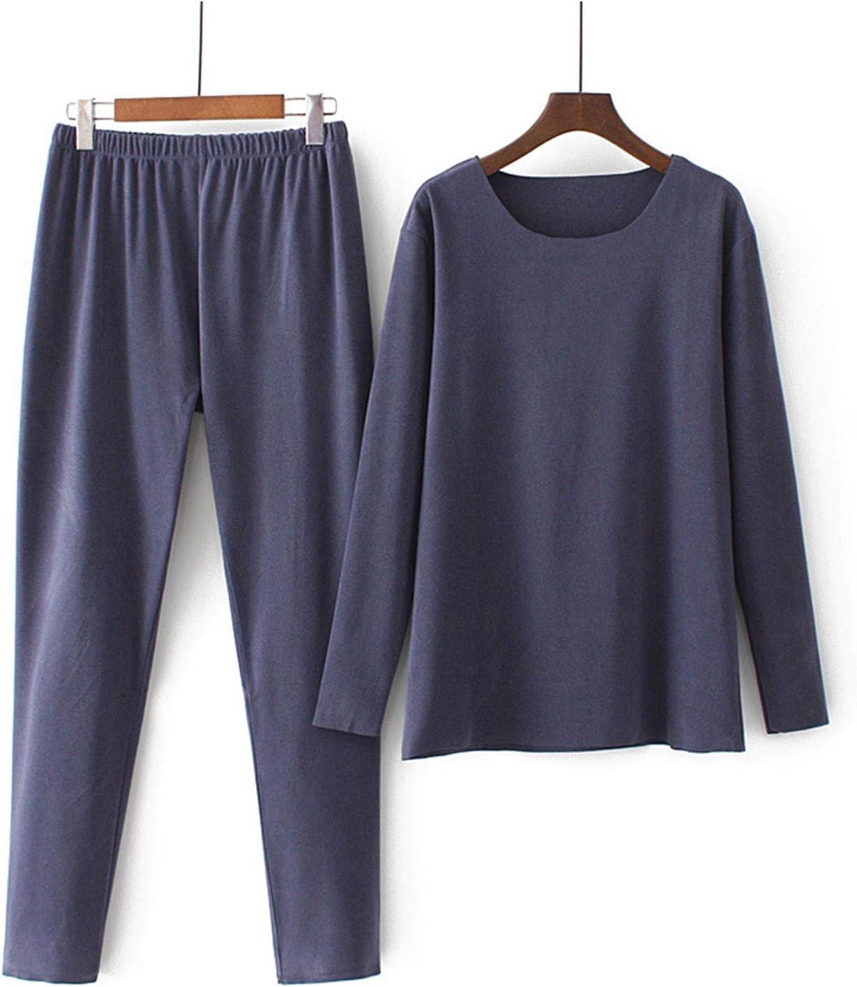 GQFGYYL Women Plus Size Thermal Underwear, Fleece Lined Top & Bottom Long Johns Set Winter Top&Pants Pajama,Navy Blue,XXXXL
