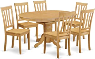 East West Furniture AVAT7-OAK-W 7-Piece Dining Table Set, Oak Finish