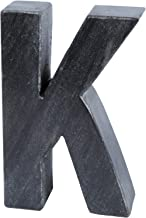 Creative Home Natural Black Stone Marble Letter K, Bookends