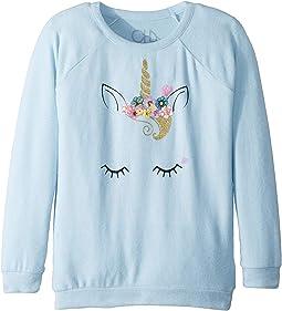 Extra Soft Love Knit Flower Crown Unicorn Pullover (Little Kids/Big Kids)