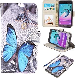 UrSpeedtekLive J3 2016 Case, Galaxy J3 V, Express Prime Case, Premium PU Leather Flip Wallet Case Cover with Card Slots & Stand for Samsung Galaxy J3 (2016),Blue Butterfly