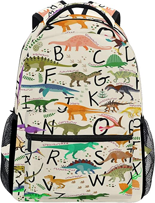 Toprint Education Alphabet Letter Dinosaur Backpack Trave Shoulder Bag Bookbag Daypack