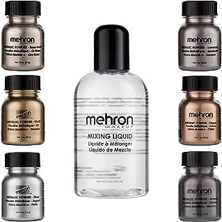 Mehron Makeup Shimmer Set (6 Metallic Powders) (Mixing Liquid Included)