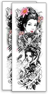 Full Arm Temporary Tattoo 2 Pcs, Sexy 3d Fake Tattoo Stickers Extra Large Long Lasting Waterproof Japanese Style Tattoo Sl...