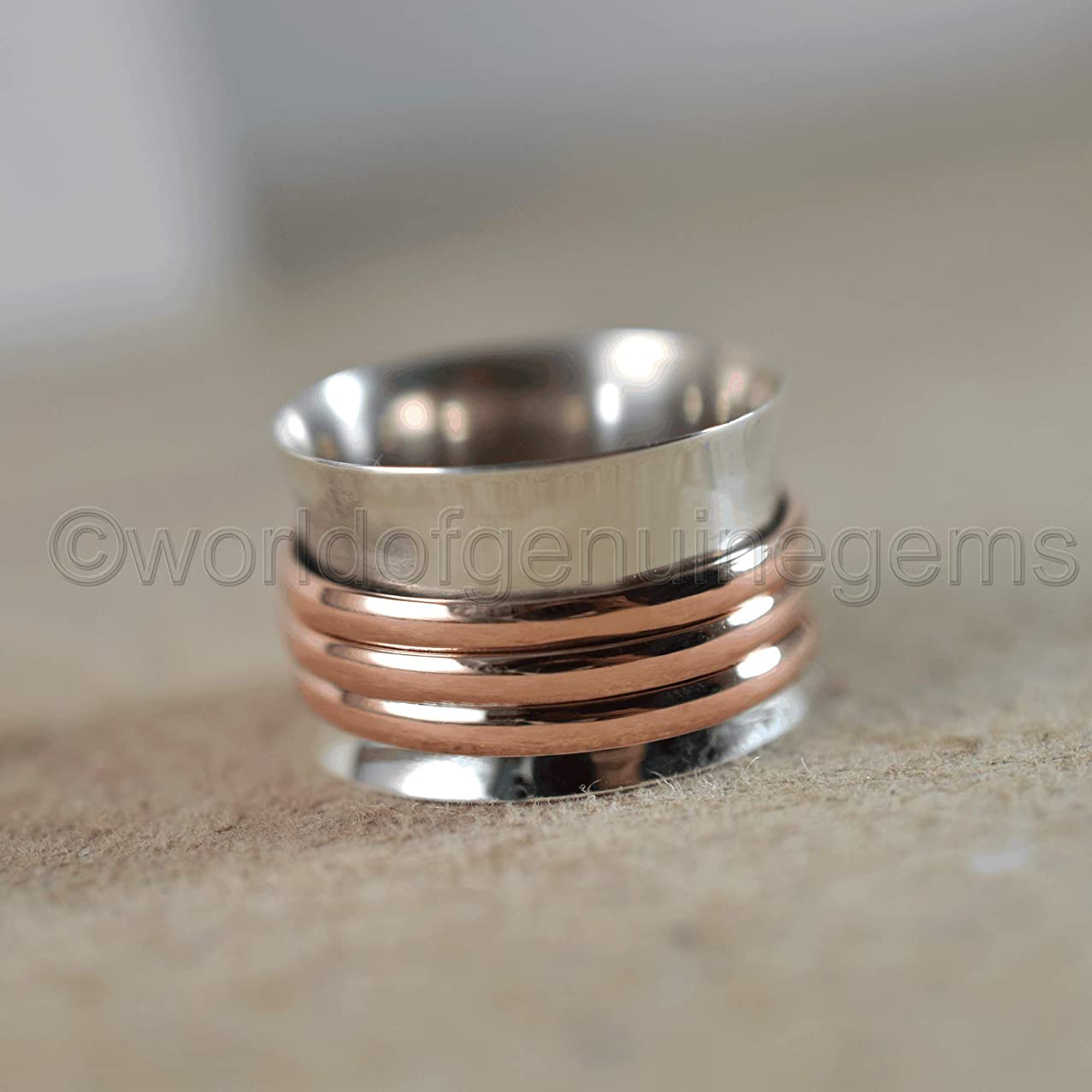 spinner band, 925 sterling silver, two tone spinner band, meditation spinner band, anti-depression band, spiritual spinner band, thumb band, wide band, women ring, fidget band, women spinner band