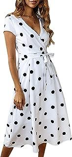Women's Summer V Neck Polka Dot Short Sleeve Vintage Wrap Dress with Belt
