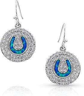 Medallion Horseshoe Opal Earrings