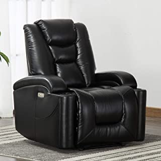 CANMOV Electric Power Recliner Chair, Breathable Bonded Leather Living Room Chair, Single Seat Sofa Home Theater Seating with Cup Holders and USB Port,Black