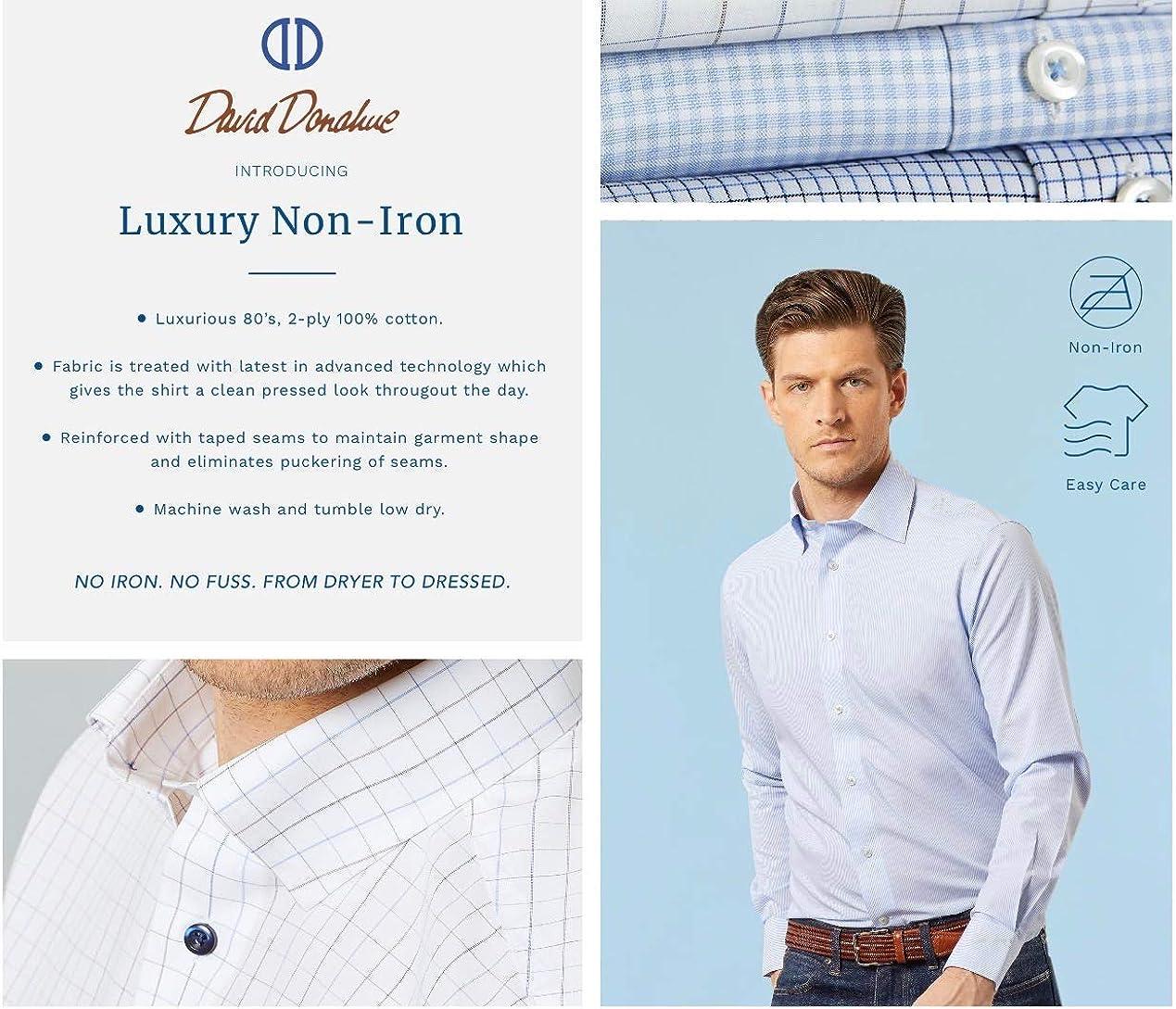 David Donahue Mens Trim Fit Long Sleeve Luxury Non Iron Dress Shirt