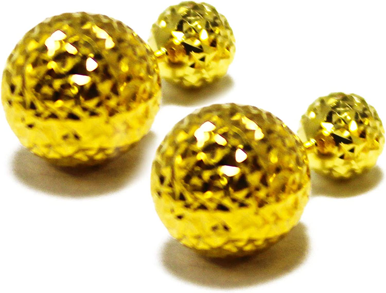 14 K Yellow Gold Double Sided Disco Diamond Cut Ball Earring