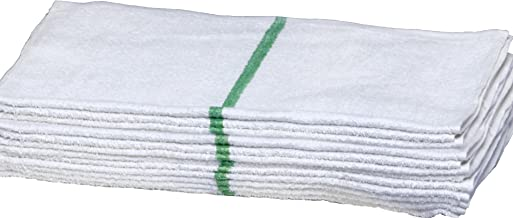 Economy Hand Towels for Bathroom-Hotel-Kitchen-Spa-Gym-Golf-Set - Solid White or with Stripe - 100% Natural Cotton, Highly Absorbent Hotel Grade, 16x27 Inches - Eco-Friendly 12 EC1627GNm-12