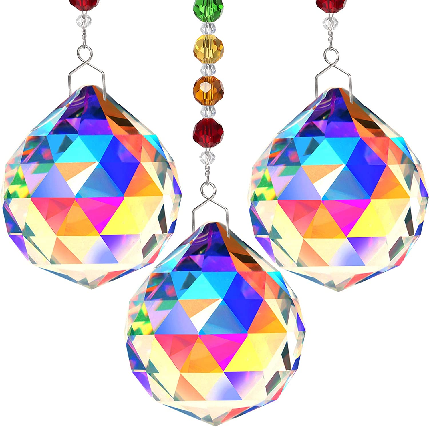 3 Pieces Crystal Suncatcher Colorful 40mm Crystal Ball Chandelier Pendant Rainbow Create Hanging Ornament Wall Hanging Tree Window Prism Ornament for Christmas Wedding Plants Cars Decor