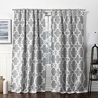 Exclusive Home Curtains Ironwork Hidden Tab Top Curtain Panel, 52x96, Silver, 2 Panels