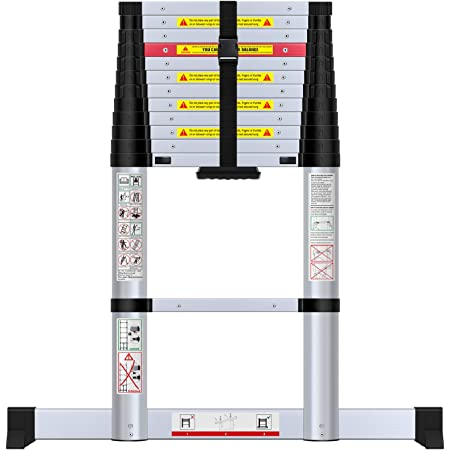 WolfWise 12.5FT Aluminum Telescoping Ladder, Newly Telescopic Extension Ladder 330lbs Capacity