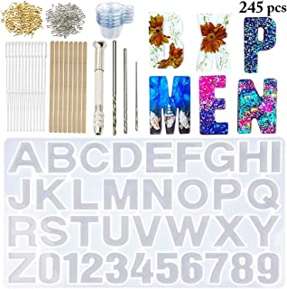 DIY Casting Mold,Outgeek Number Alphabet Jewelry Casting Mold Letter Jewelry Making Mold DIY Sugar Cake Craft Casting Mould Mold and Tool Set Assorted Types