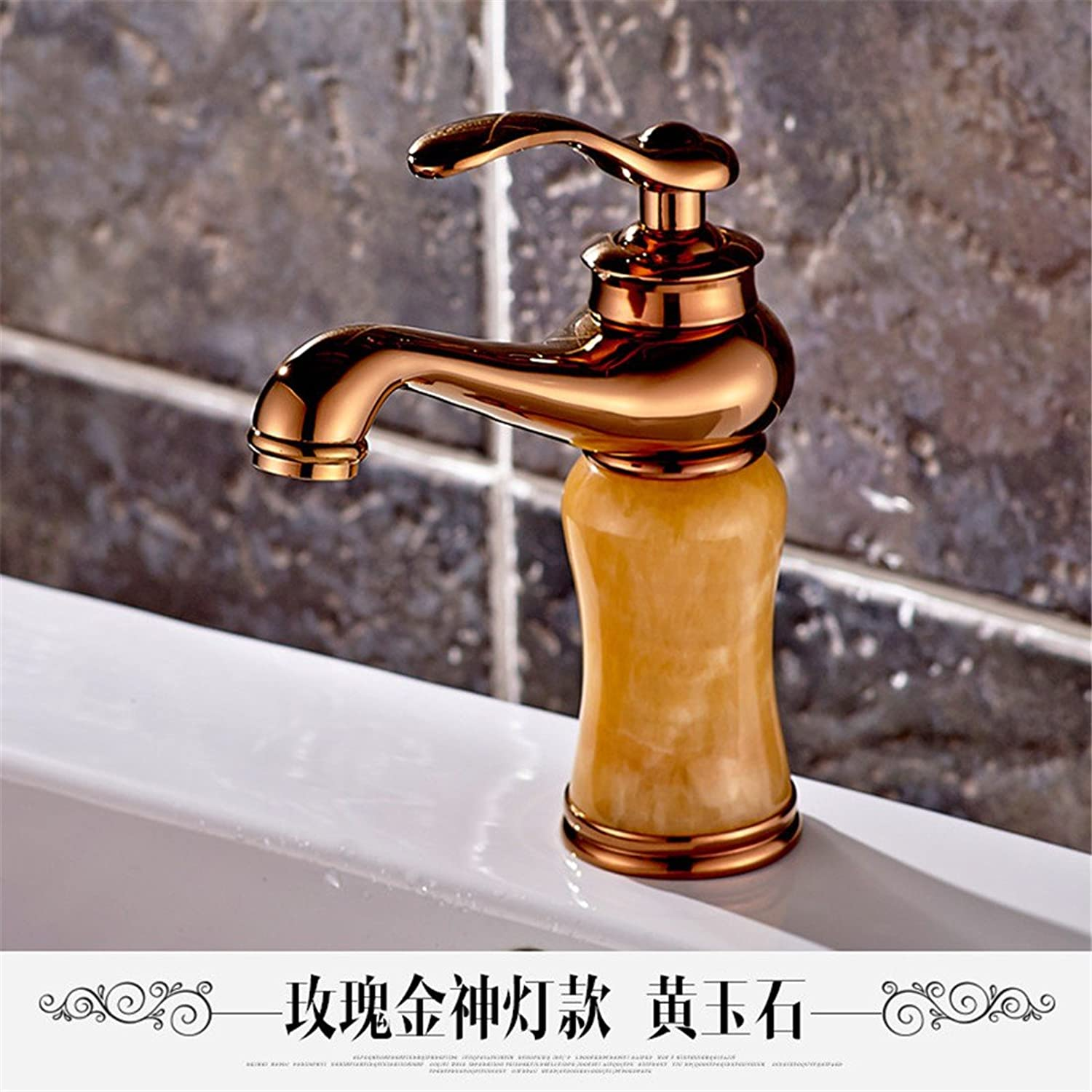 Hlluya Professional Sink Mixer Tap Kitchen Faucet The Jade faucet marble washbasins pink gold basin full copper golden basin of hot and cold taps, God light pink gold Topaz