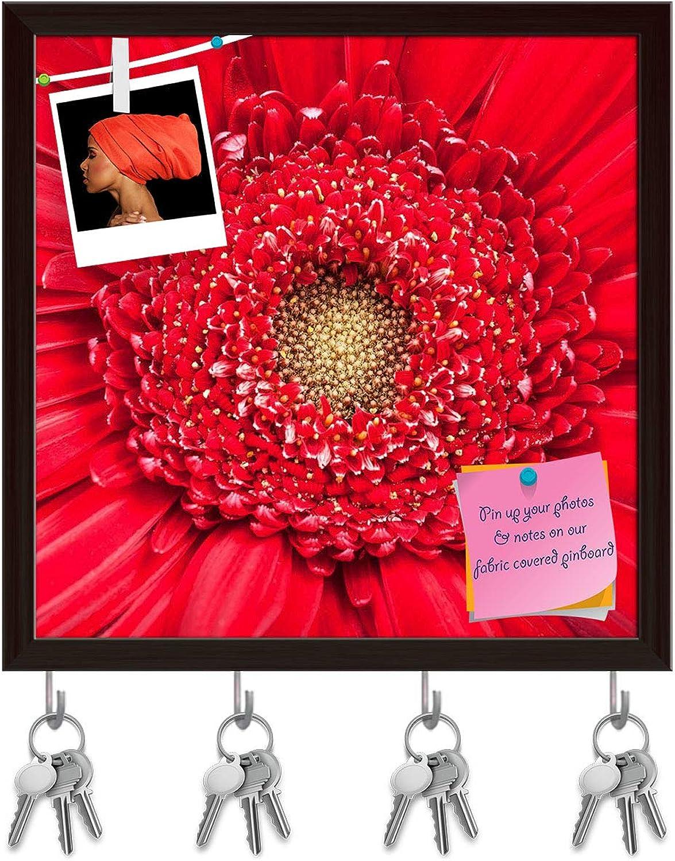 Artzfolio Yellow Center of Red Gerbera Bloom Close Up Key Holder Hooks   Notice Pin Board   Dark Brown Frame 20 X 20Inch