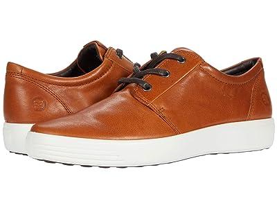 ECCO Soft 7 Plain Toe Sneaker (Cognac) Men