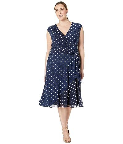 LAUREN Ralph Lauren Plus Size B920 Driver Dot Matte Jersey Jori Cap Sleeve Day Dress (Lighthouse Navy/Colonial Cream) Women