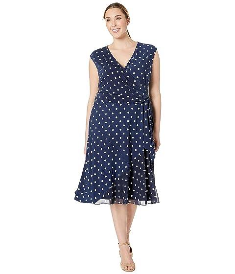 a91a532258 LAUREN Ralph Lauren Plus Size B920 Driver Dot Matte Jersey Jori Cap Sleeve  Day Dress