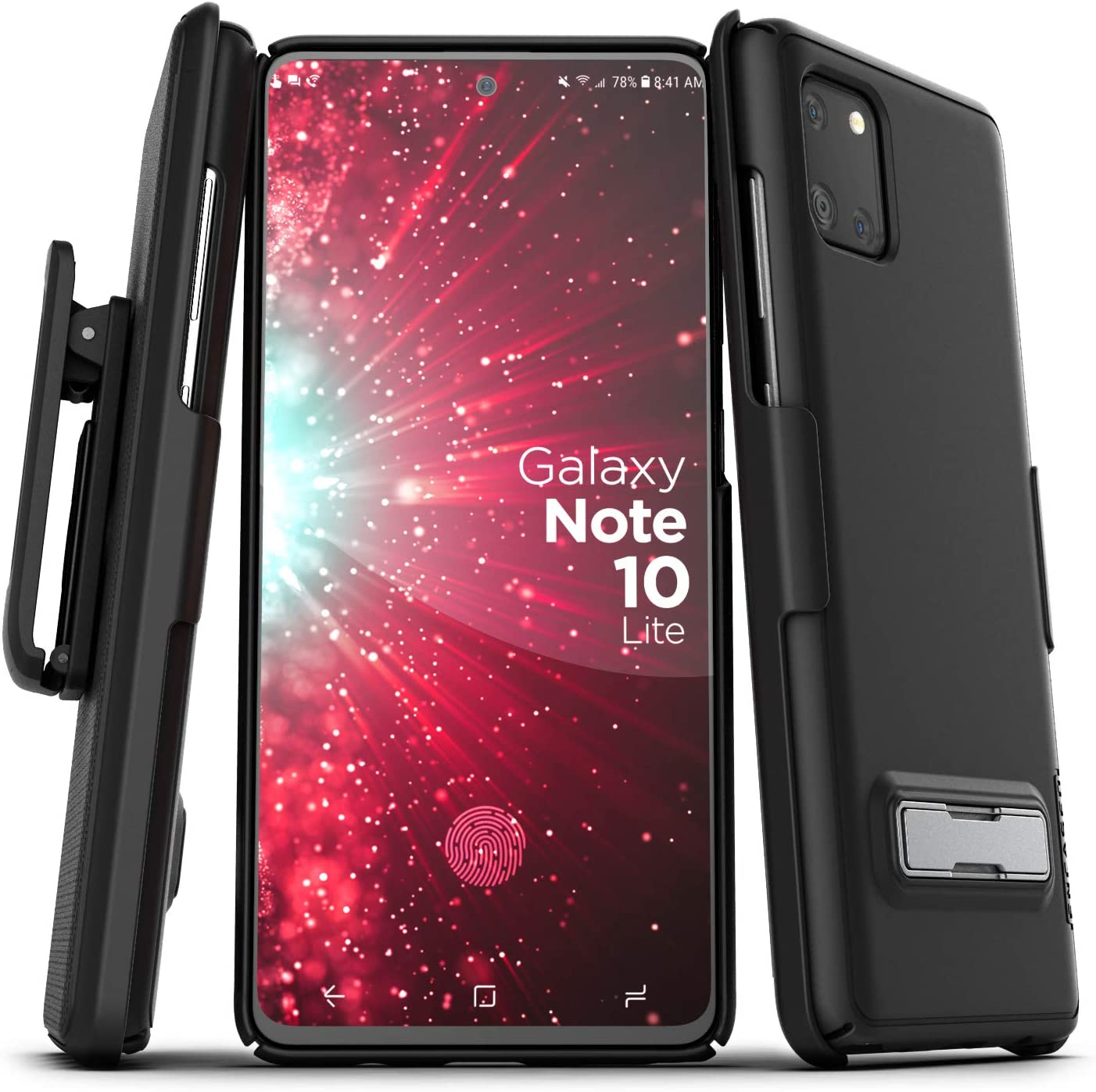 Encased Note 10 Lite Belt Case with Kickstand (Slimline) Ultra Thin Cover with Holster Clip for Samsung Galaxy Note 10 Lite - Black