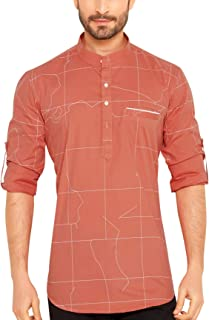 Go Stylish 100% Cotton Printed Kurta Shirt for Men