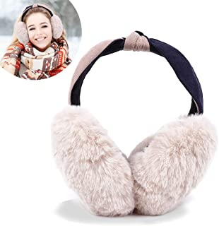 Womens Winter Earmuffs - Soft Warm Ear Warmers Cute Rabbit Foldable Thick Furry Outdoor Earmuffs for Womens Girls