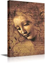 The Head of a Woman by Leonardo Da Vinci Famous Fine Art Reproduction World Famous Painting Replica on ped Print Wood Framed - Canvas Art Wall Decor - 16