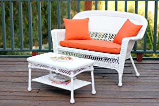 Jeco Wicker Patio Love Seat and Coffee Table Set with Orange Cushion, White
