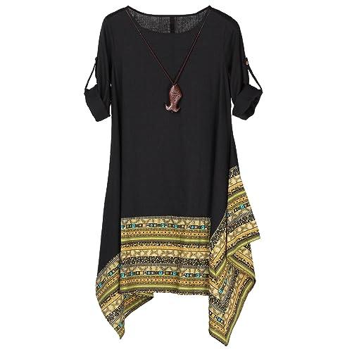 08e43a3e4f72 Vogstyle Women s Summer Cotton Linen Short Sleeve Tee Shirt Dress Irregular  Hem Tunic