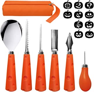 U-Goforst Pumpkin Carving Kit - 6 Piece Reusable Stainless Steel Tools Set and 10 Carving Pattern Easily Carve Sculpt Kids and Adults Halloween Jack O Lanterns (with Carrying Bag)