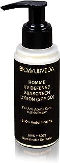 BIOAYURVEDA UV Defense Sunscreen Lotion for Men | SPF 30 | Broad Spectrum |Non-Greasy, Organic moisturizer (100gm)