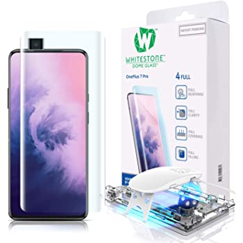 Tempered Glass Screen Protector for OnePlus 7 Pro and 7 Pro 5G, [Dome Glass] Full 3D Curved Edge Exclusive Solution, Easy Install Kit by Whitestone for OnePlus 7 Proand 7 Pro 5G - 1 Pack