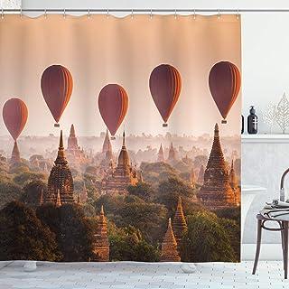 ABAKUHAUS Asian Shower Curtain, Hot Air Balloon Myanmar, Cloth Fabric Bathroom Decor Set with Hooks, 175 cm x 200 cm, Peac...