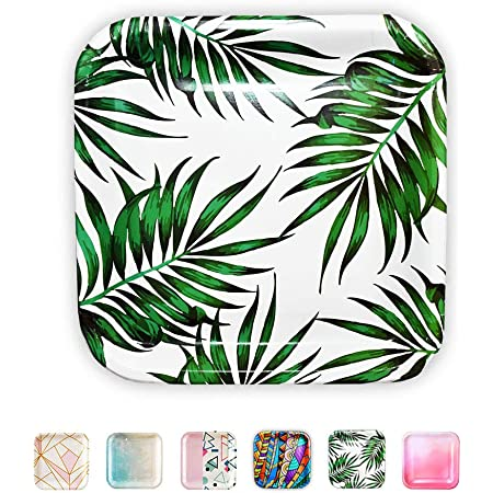 SOLAS Paper Palm Leaf Plates - Fully Compostable Jungle Party Plates   Beautiful Eco Friendly Paper Plates   Square Plates Disposable Green Paper Plates   Pack of 20   9 Inch Luau Party Plates