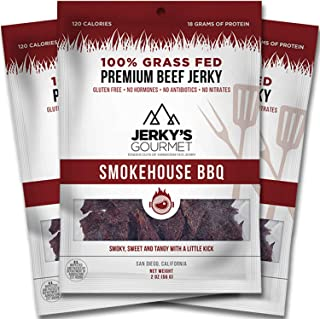 Smokehouse BBQ Grass Fed Beef Jerky - 120 Calorie Snacks, Gourmet, Healthy, Low Carb, High Protein - Keto Friendly & Gluten Free (3 Packs)