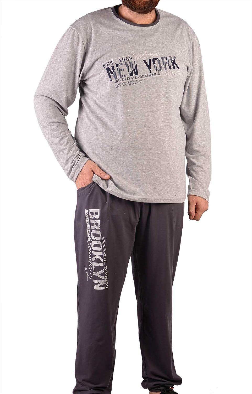 Conjunto de Pijamas de Hombre Bata de algodón de Noche de Manga Larga M-5XL