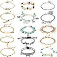 15 Pieces Ankle Chains Bracelets Adjustable Beach Anklet Foot Jewelry Set Anklets for Women Girls...